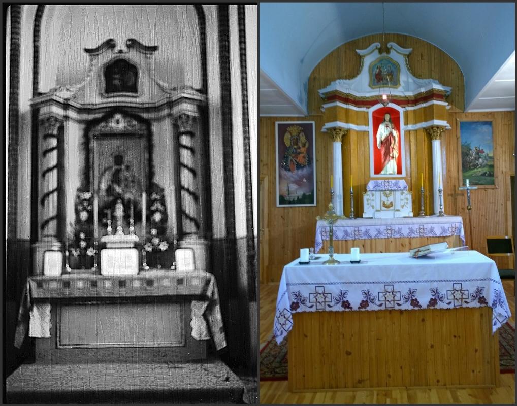 Buvęs Sasnavos senosios bažnyčios trečiasis altorius (apie 1938 m.) ir Liubavo bažnyčios didysis altorius (2016 m.)