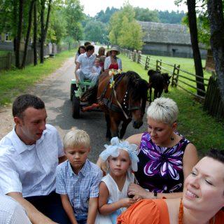 Paivažinėjimas arklių traukiamais vežimais