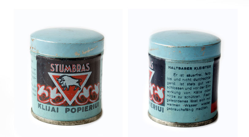 """Klijai popieriui """"Stumbras"""", skardinėje dėžutėje, XX a. 4 deš. P-4893-2"""