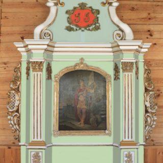 Šv. Jurgio altoriaus retabulo pirminės polichromijos spalvinė vizualizacija. Autorius – Rolandas Vičys