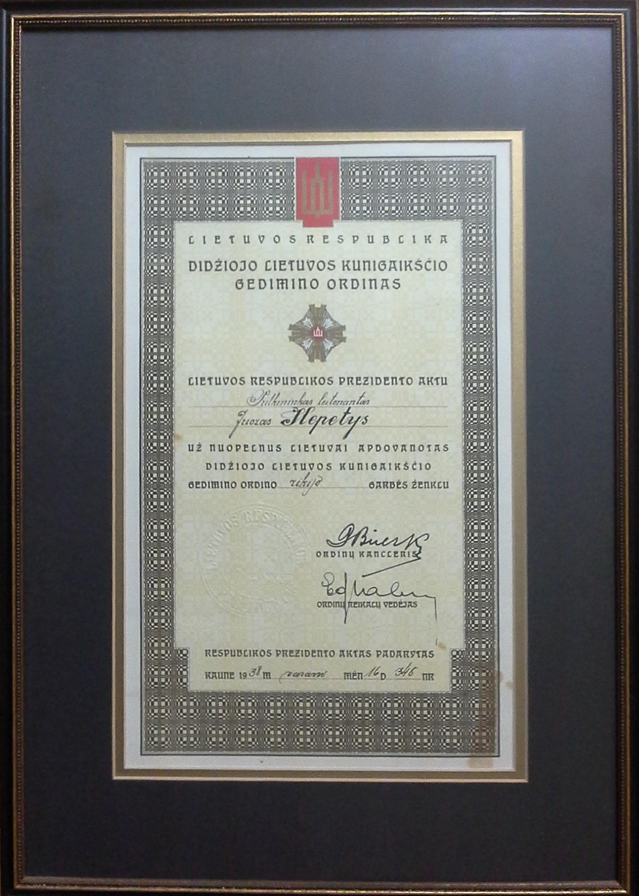 Didžiojo Lietuvos kunigaikščio Gedimino ordino rikijo garbės ženklo pažymėjimas. Kaunas, 1938 m. vasario 16 d.