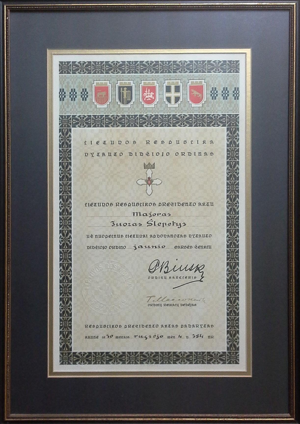 Vytauto Didžiojo ordino jaunio garbės ženklo pažymėjimas. Kaunas, 1930 m. rugsėjo 4 d.